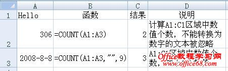 Excel2007中COUNT函数的用法