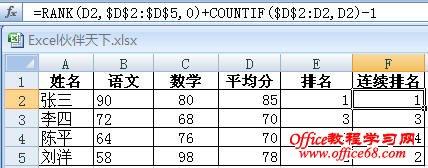 Excel用RANK解决出现相同名次时连续排名的问题