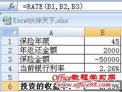 Excel使用RATE函数计算保险的收益率