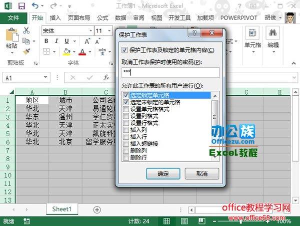 Excel2013中如何保护工作表全攻略2