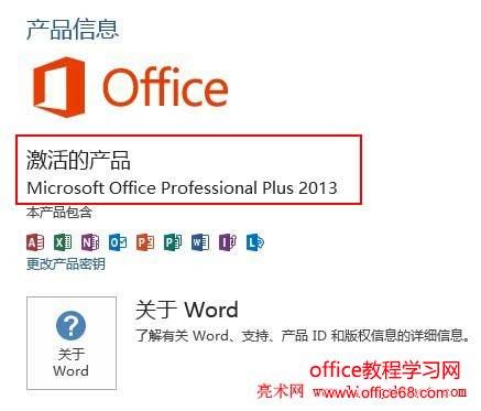 Office2013激活的产品