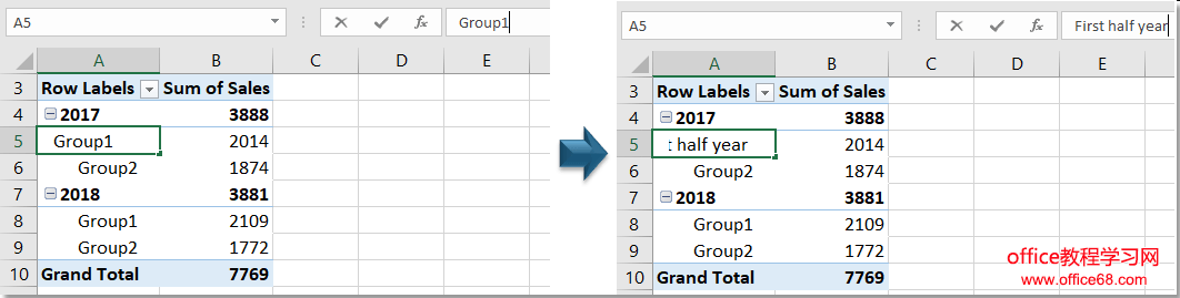 doc group by half a year pivottable 9