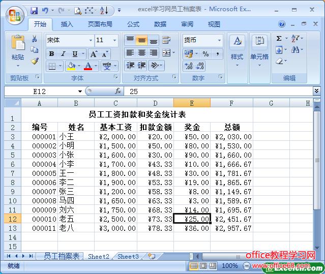 用excel创建员工工资扣款和奖金统计表