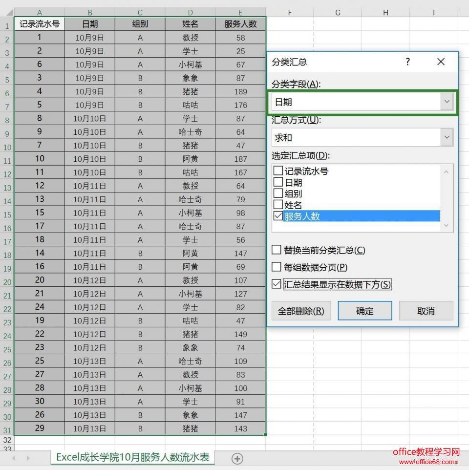 如何使用Excel分类汇总功能,快速做出多级统计求和3